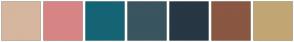 Color Scheme with #D6B69F #D68584 #156475 #3A555F #273744 #8A5742 #C2A674