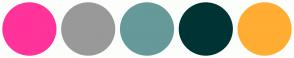 Color Scheme with #FF3399 #999999 #669999 #003333 #FFAD33