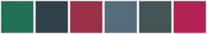 Color Scheme with #237157 #31404A #9C3049 #566C7D #445557 #B32255