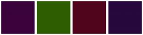 Color Scheme with #3B033B #2E5C00 #51051C #28083D