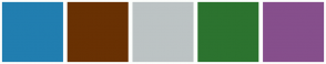 Color Scheme with #217EB0 #693103 #BCC3C4 #2C732F #864F8C