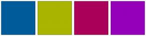 Color Scheme with #005B9A #A9B500 #AB0059 #9500BA