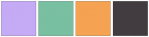 Color Scheme with #C5AAF5 #79BFA1 #F5A352 #423C40