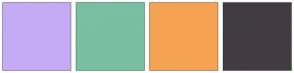Color Scheme with #C5AAF5 #79BFA1 #F5A352 #423C40