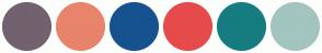 Color Scheme with #72616E #E8846B #16528E #E54B4B #167C80 #A2C5BF