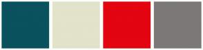 Color Scheme with #09525E #E2E3CA #E30510 #7D7878
