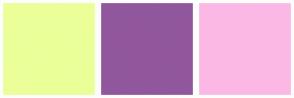 Color Scheme with #EBFF99 #91579C #FCB8E5