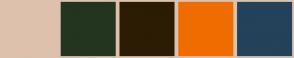 Color Scheme with #DEC1AD #23351E #2C1C05 #F06C00 #244259