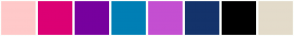 Color Scheme with #FFC9C9 #DC0074 #77009E #007FB5 #C44FD1 #14336B #000000 #E3DBCA