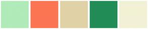 Color Scheme with #B0EBB9 #FC7553 #E0D2A6 #228C57 #F2F1D5