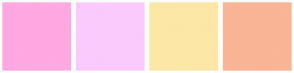 Color Scheme with #FFA8E1 #FACAFC #FCE7A7 #FAB496