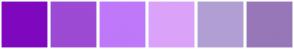 Color Scheme with #7F08BF #9D4AD4 #BF78FA #DBA2FA #B19FD4 #9777B8