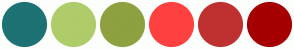Color Scheme with #1D7273 #AFCC6A #8DA140 #FF4040 #BF3030 #A60000