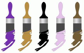 Color Scheme with #7531AD #B88E42 #000000 #E4C3E8 #735D36