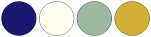 Color Scheme with #191970 #FFFFF0 #9DB9A0 #D4AF37