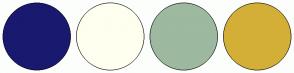 Color Scheme with #191970 #FFFFF0 #9DB9A0 #D4AF37