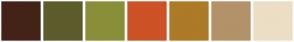 Color Scheme with #432318 #5C5C2C #898F39 #CD5226 #AD7A28 #B39269 #ECDEC4