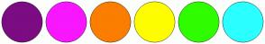 Color Scheme with #7C0C82 #F817FF #FB7E00 #FFFD00 #2FFD00 #2BFFFF