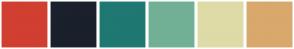 Color Scheme with #D13F31 #1A202C #1F7872 #72B095 #DEDBA7 #D9A86C