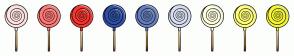 Color Scheme with #FFE2E1 #FF7976 #F63631 #2F51A5 #647EC0 #D6DDEF #FEFFE1 #FDFF76 #F3F631