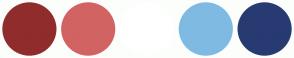Color Scheme with #902C2C #D26363 #FFFFFF #7FBAE3 #283A72
