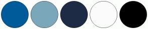 Color Scheme with #005B9A #7BA7BB #1E2B45 #FBFBFB #000000