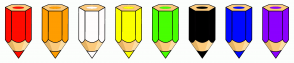 Color Scheme with #FF0B00 #FF9D00 #FFFDFD #FBFF00 #47FF00 #000000 #0008FF #8B00FF