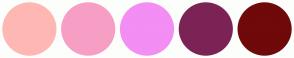 Color Scheme with #FFB7B4 #F79EC5 #F28EF4 #7C2356 #700909