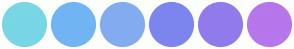 Color Scheme with #79D6E5 #71B4F4 #83ACF0 #7C85EE #917BEC #B676EC