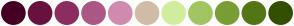 Color Scheme with #450024 #68113F #8B2E5F #AD5784 #D08BAF #D1BCA7 #D1ED9E #A2C563 #799E35 #537614 #334F00