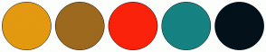 Color Scheme with #E39910 #9C691E #FA220A #168282 #02111A