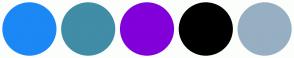 Color Scheme with #1B88F5 #418CA6 #8200D9 #000000 #97AFC2