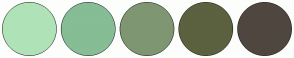Color Scheme with #AFE3B7 #86BD94 #7E9671 #5C613F #4F473F