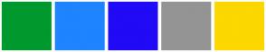 Color Scheme with #00992E #1F84FF #210AF5 #949494 #FCD700