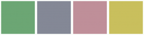 Color Scheme with #6CA674 #848896 #BF8F99 #C9BF5D