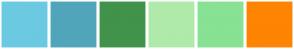 Color Scheme with #6BCAE2 #51A5BA #41924B #AFEAAA #87E293 #FE8402