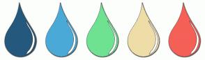 Color Scheme with #24597D #4AA9D7 #6FE292 #EEDDA7 #F56057