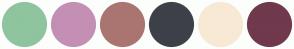 Color Scheme with #8FC49F #C48FB4 #AA7570 #3D4048 #F8E9D5 #70394D