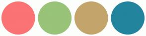 Color Scheme with #FB7374 #98C379 #C3A56C #23849E