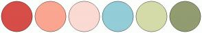 Color Scheme with #D64E47 #FAA691 #FADAD2 #93CDD8 #D4DBA9 #919C70