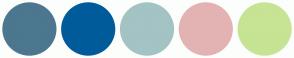 Color Scheme with #4C778F #005B9A #A3C3C4 #E3B3B3 #C7E394
