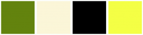 Color Scheme with #63830E #FBF6D8 #000000 #F4FF45