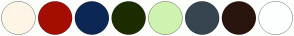 Color Scheme with #FDF5E6 #A40E02 #0C2754 #1D2D00 #CFF3AF #36454F #2A140E #FEFFFF