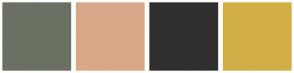 Color Scheme with #6A7063 #D9A888 #312F2F #D2AF45