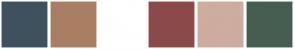 Color Scheme with #3F515E #A97F63 #FFFFFF #8B4A4A #CEAC9F #465E51