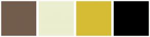 Color Scheme with #725D4D #ECEED0 #D6BC35 #000000