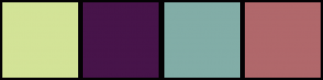 Color Scheme with #D3E397 #47144A #82ADA7 #B0686B