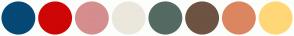 Color Scheme with #064876 #CE0606 #D58D8D #EBE7DD #546A62 #6D5342 #DB8661 #FFD777