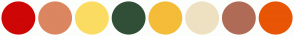 Color Scheme with #CE0606 #DB8661 #FBDC62 #314F37 #F4BC38 #EEE1C2 #B06B57 #E85505