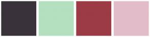 Color Scheme with #3A323B #B4E0BF #9C3B45 #E3BCCA